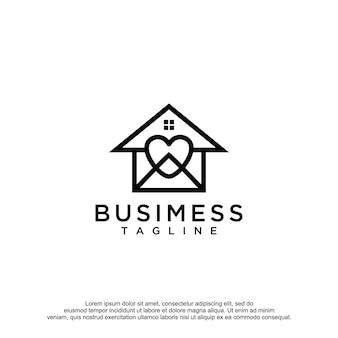 Modèle de conception de vecteur de logo d'amour à la maison