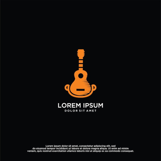 Modèle de conception de vecteur de logo de guitare