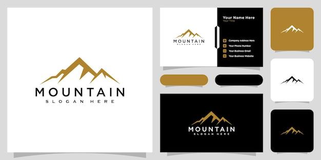 Modèle de conception de vecteur de logo de montagne et carte de visite