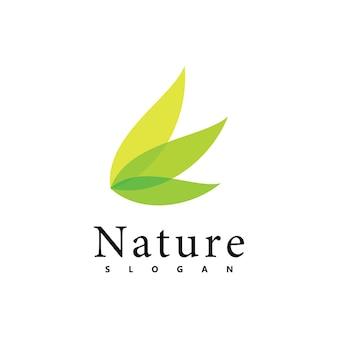Modèle de conception de vecteur de logo nature. icône de feuille