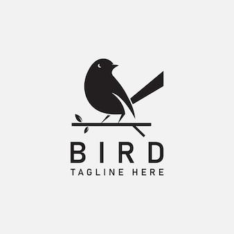 Modèle de conception de vecteur de logo d'oiseau en fond gris isolé