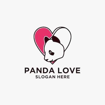 Modèle de conception de vecteur de logo de panda d'amour, panda mignon, logo mignon de panda à l'intérieur du cadre de coeur, de la mascotte ou de l'icône de panda.