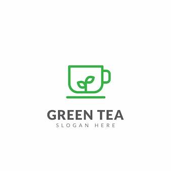Modèle de conception de vecteur pour le logo ou l'icône de thé vert avec des tasses et des feuilles de thé