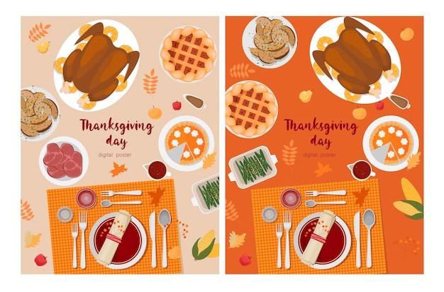 Modèle de conception de vecteur de thanksgiving pour la carte d'invitations de bannières d'affiches tarte à la citrouille de turquie