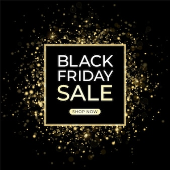 Modèle de conception de vente black friday. fond sombre et confettis dorés.
