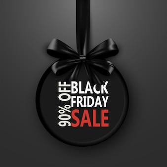 Modèle de conception de vente vendredi noir. bannière de promotion shopping avec ruban arc. remise spéciale sur la bannière de conception
