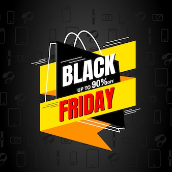 Modèle de conception de vente vendredi noir. étiquette de bannière.