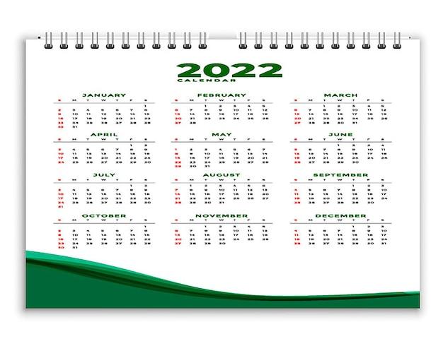 Modèle de conception verte de calendrier professionnel de style géométrique 2022