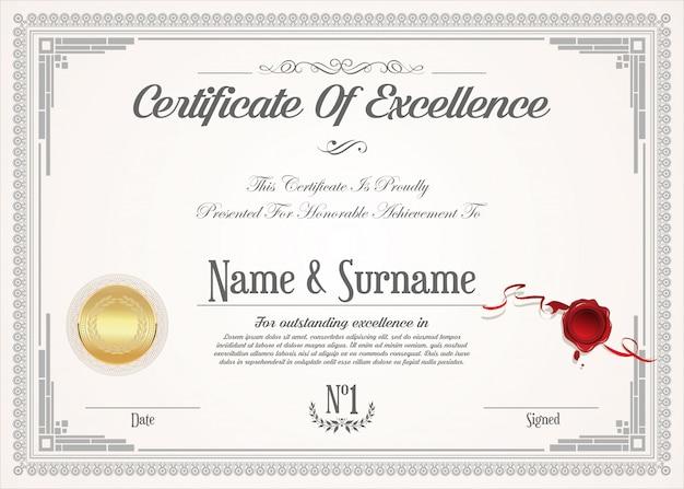 Modèle de conception vintage rétro de certificat ou diplôme