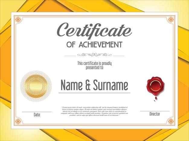 Modèle de conception vintage rétro certificat ou diplôme
