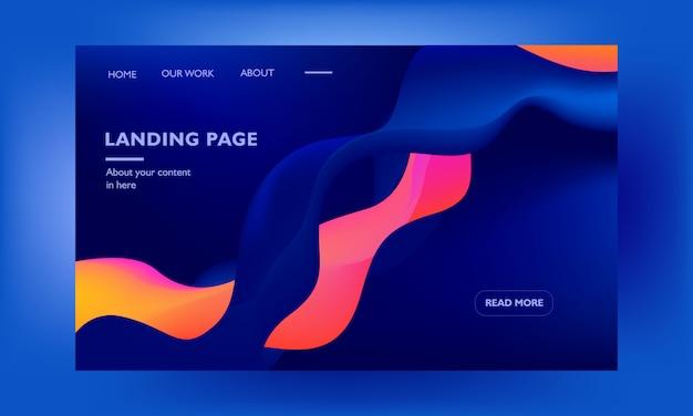 Modèle de conception web de page de destination corporative sur bleu