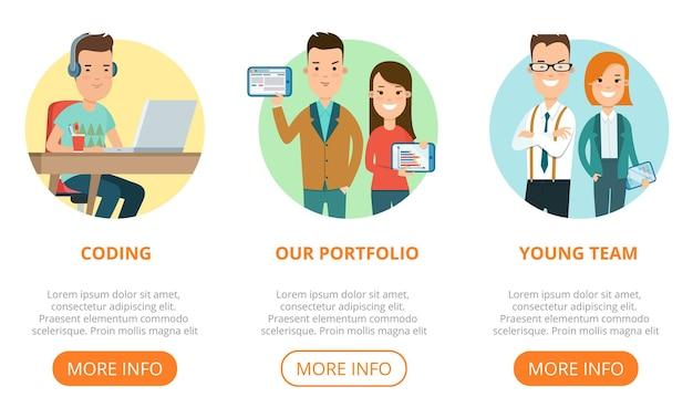 Modèle de conception web page plate infographie icônes de site web illustration vectorielle de fine ligne