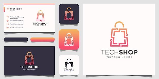 Modèle de conceptions de logo de magasin de technologie. circuit combiné avec le style d'art de ligne de sac.