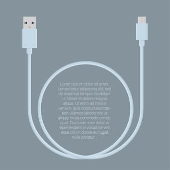 Modèle de connecteurs de câble de charge de données usb rose clair design plat