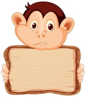 Modèle de conseil avec singe mignon sur blanc