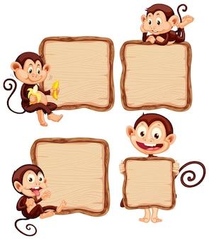Modèle de conseil avec des singes mignons sur fond blanc