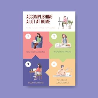 Modèle de conseils d'information lorsque les gens travaillent à domicile. concept de bureau à domicile aquarelle illustration vectorielle