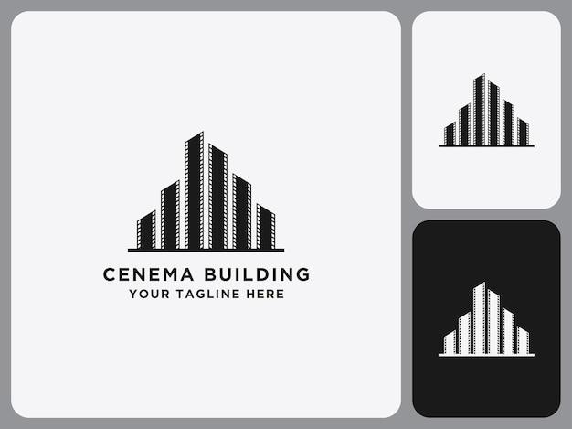 Modèle de construction d'icône de logo de cinéma de film noir plat