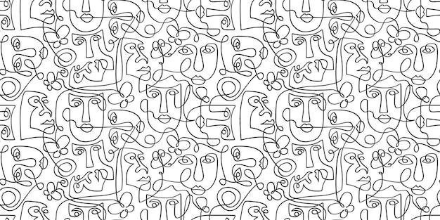 Modèle contemporain avec dessin au trait tribal visage surréaliste