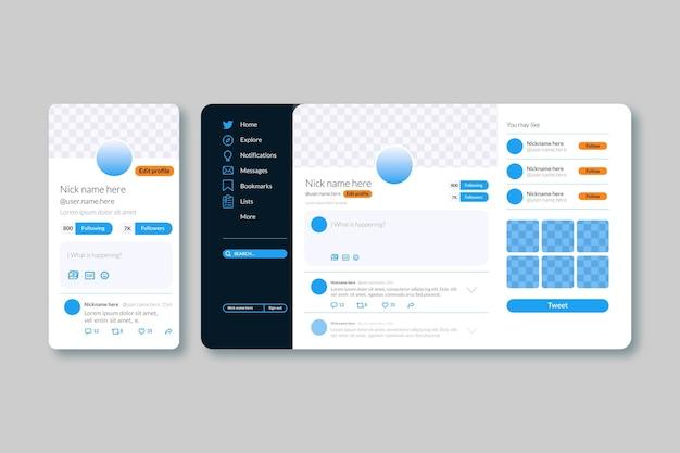 Modèle convivial de l'interface twitter
