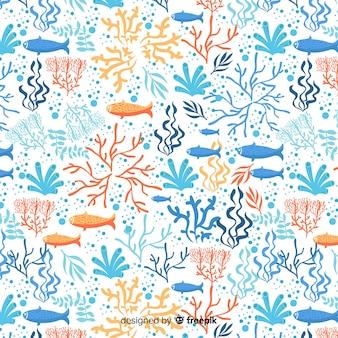 Modèle de corail dessiné à la main coloré
