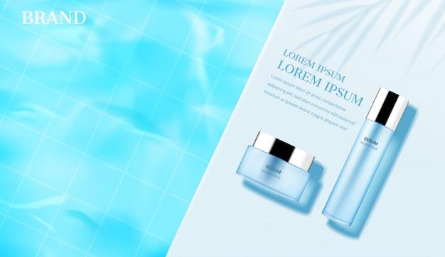 Modèle cosmétique. crème et sérum sur piscine