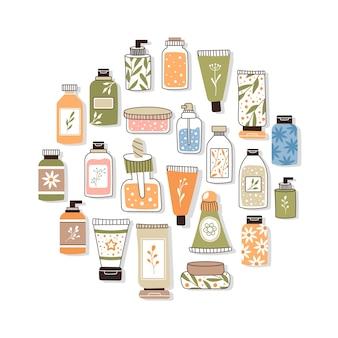 Modèle avec des cosmétiques biologiques. un ensemble de flacons et tubes, pots pour soins de la peau avec crème pour le visage, les cheveux et le corps. style de mode pour cartes postales, bannières, modèles. illustration vectorielle.