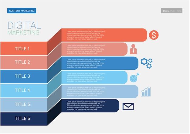 Modèle côté infographie marketing numérique. a5 taille de l'échelle.