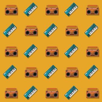 Modèle de couleur avec clavier de piano et lecteur de cassettes