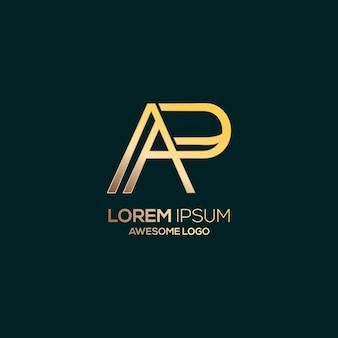 Modèle de couleur or de luxe logo lettre ap
