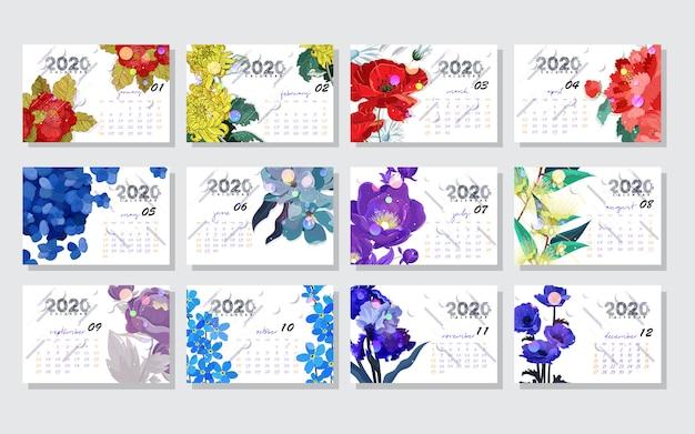 Modèle de couleur pour le calendrier fleur vecteur