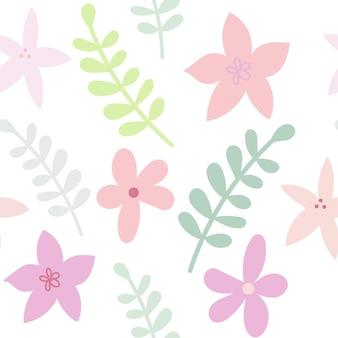 Modèle de couleur sans couture floral dessiné à plat dans des couleurs pastel fleurs et branches mignonnes