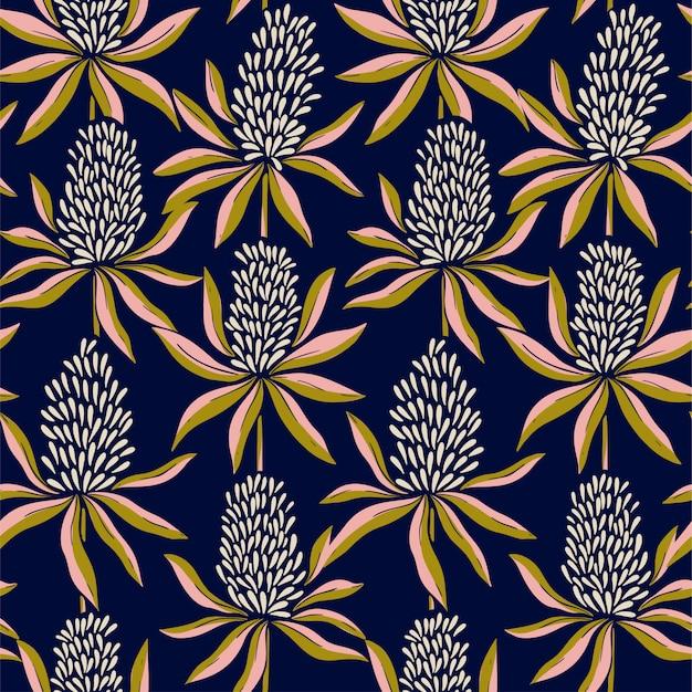 Modèle de couleur transparente de fleurs abstraites