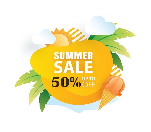 Modèle de coupe papier affiche de vente de l'été.