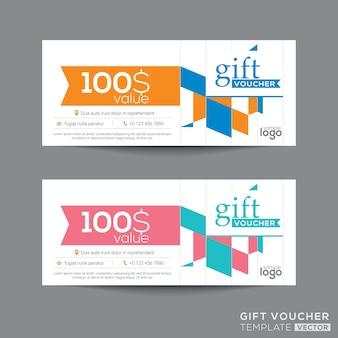 Modèle de coupon de bon cadeau avec quadrangle coloré