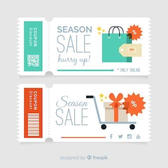 Modèle de coupon coloré avec design plat