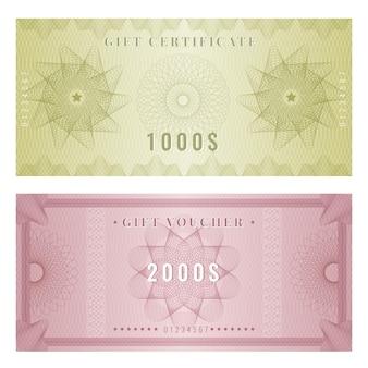 Modèle de coupon. conception de certificat avec des formes et des frontières de filigranes de gravure guilloché. bon d'illustration et prix du certificat, billet avec guilloché