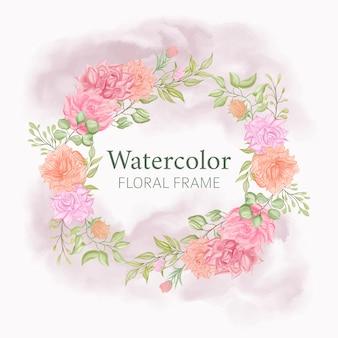 Modèle de couronne de mariage aquarelle cadre floral