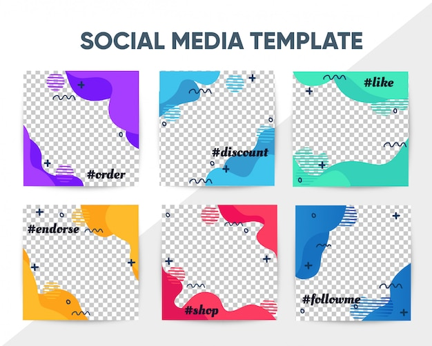 Modèle de courrier carré moderne instagram avec design coloré