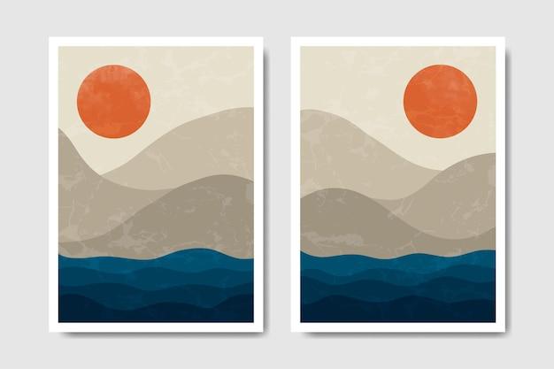 Modèle de couverture d'affiche boho paysage moderne abstrait du milieu du siècle contemporain.