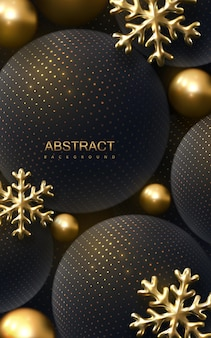 Modèle de couverture ou de bannière de nouvel an ou de noël avec du noir et des boules et des flocons de neige dorés