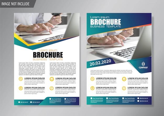 Modèle de couverture bleu flyer et brochure