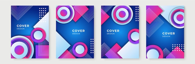 Modèle de couverture bleu et violet. conceptions de couverture géométriques dégradées abstraites, modèles de brochures à la mode, affiches futuristes colorées. illustration vectorielle