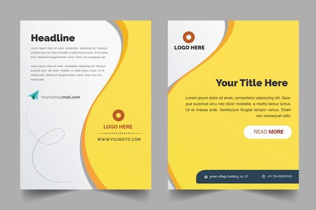 Modèle de couverture de brochure avec fond jaune