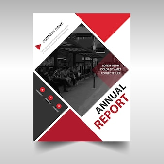 Modèle de couverture de carnet de rapport annuel créatif en carré rouge