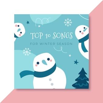 Modèle de couverture de cd hiver dessiné à la main