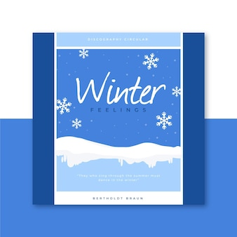 Modèle de couverture de cd d'hiver avec des flocons de neige