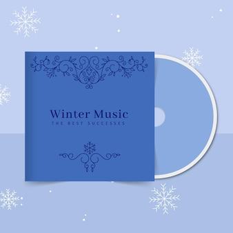 Modèle de couverture de cd d'hiver ornemental