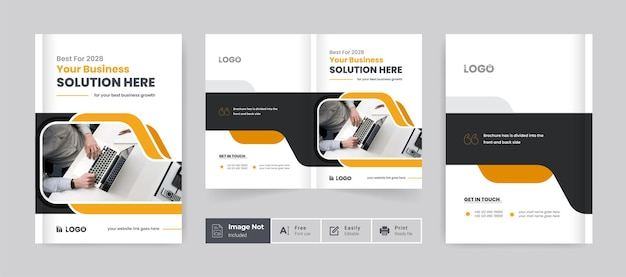 Modèle de couverture de conception de brochure d'entreprise mise en page du thème de présentation de la brochure d'entreprise créative à deux volets