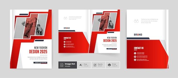 Modèle de couverture de conception de brochure de mode page de couverture de portefeuille créatif couleur rouge thème moderne